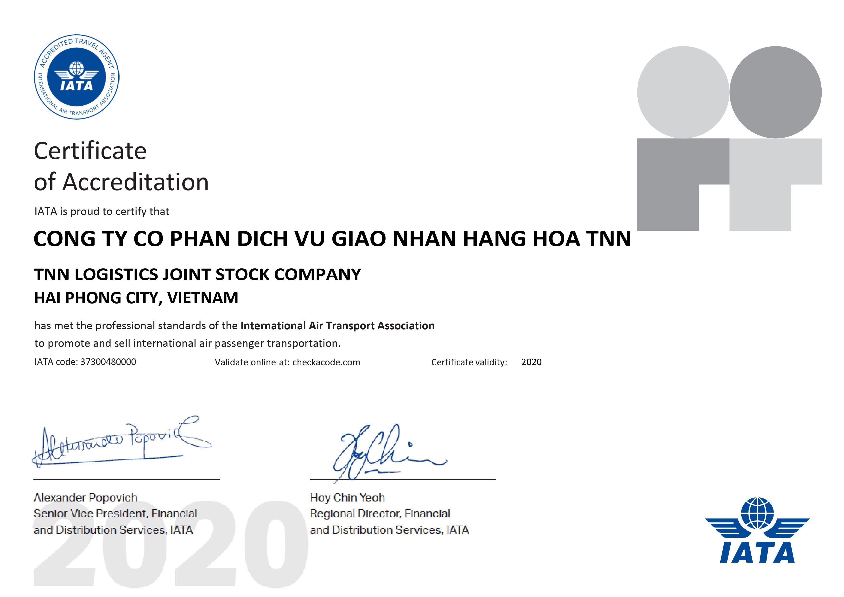 13/05/2020 – TNN Logistics trở thành đại lý chính thức của IATA