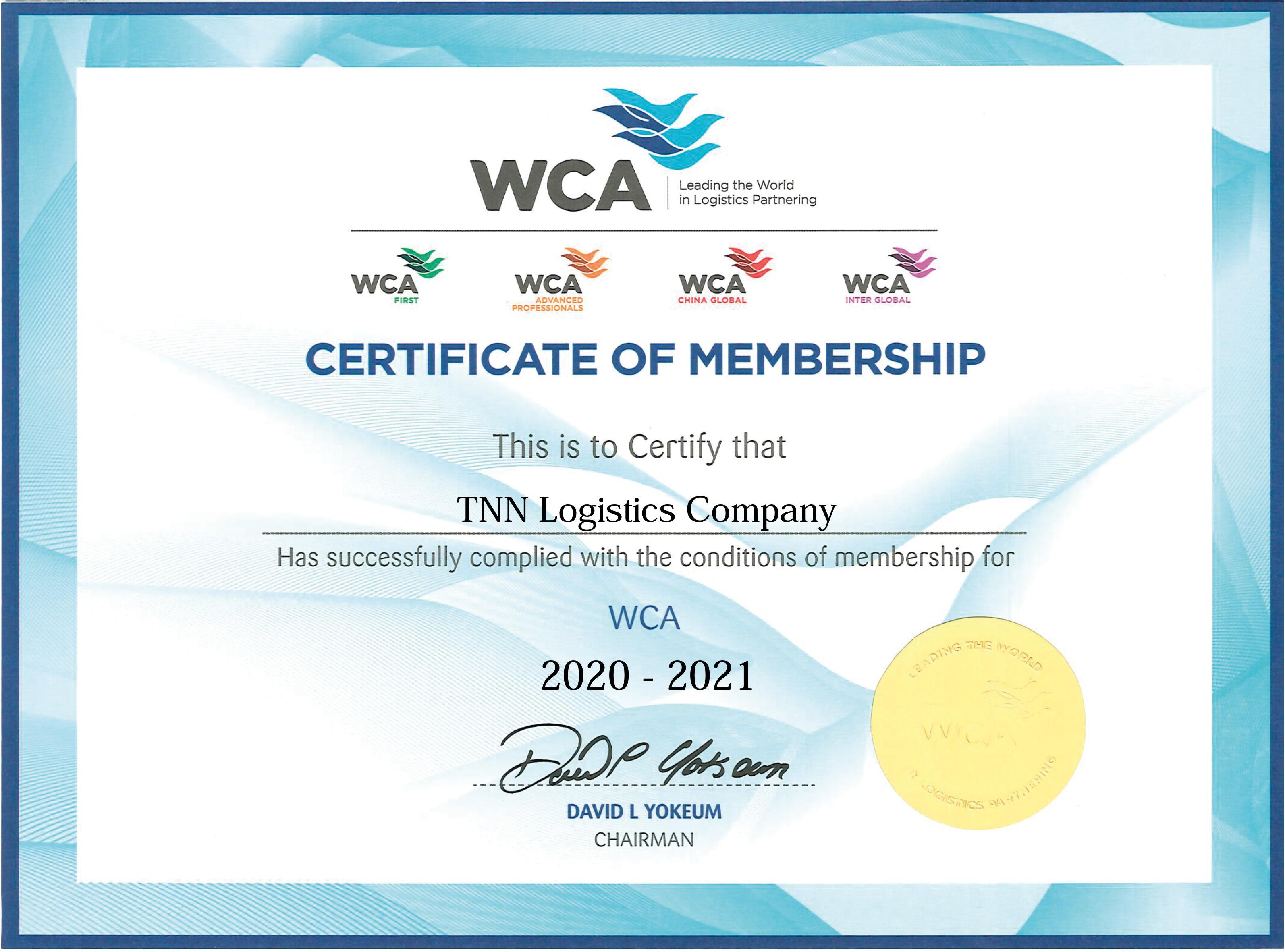 02/10/2020 – TNN Logistics trở thành thành viên chính thức của WCA